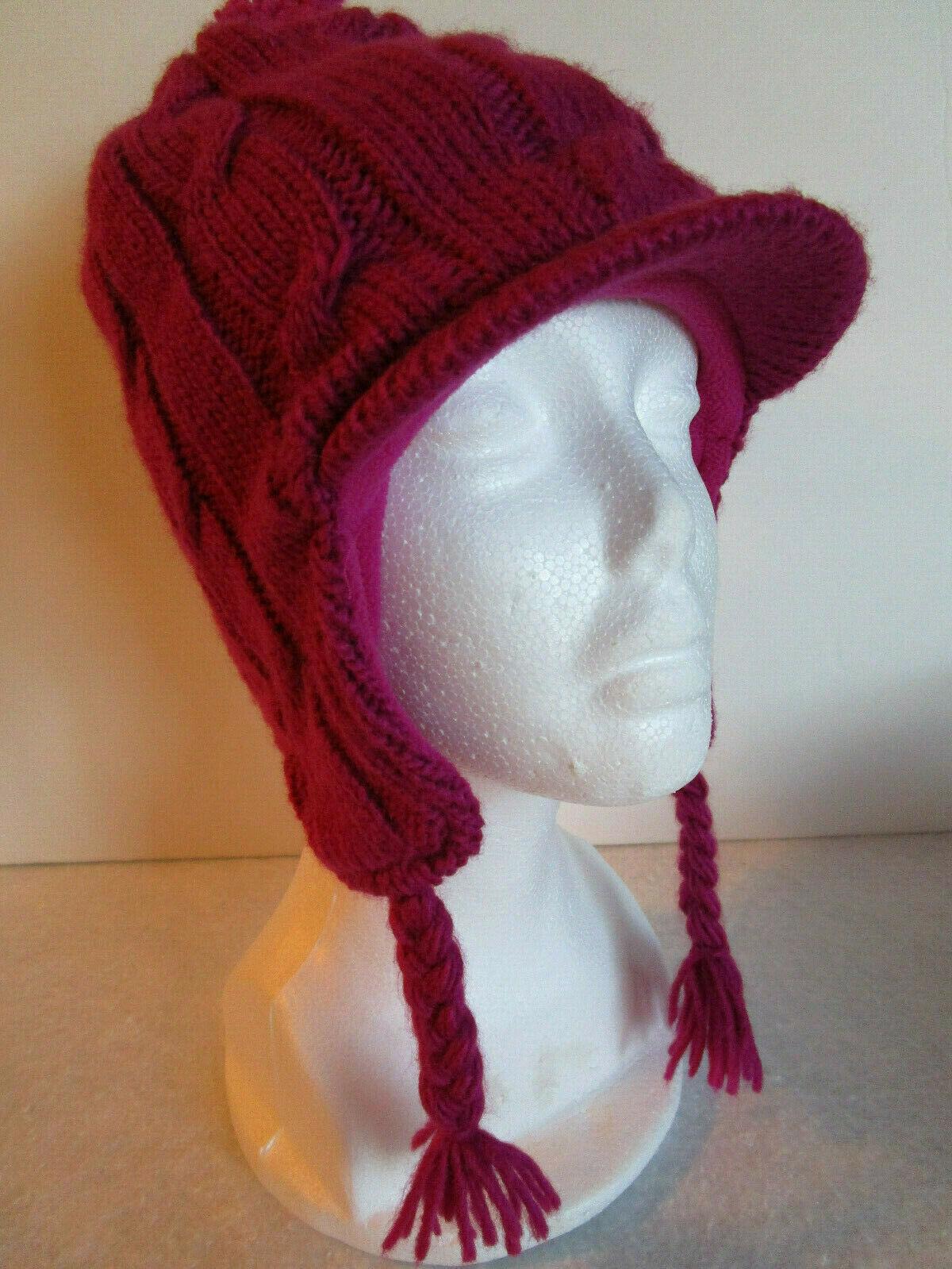 PLACE Knit Hat POM POM Ear Flaps VISOR lined - Raspberry Pink Girls 7-8 - $4.69