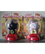 Set of 2 Waving LUCKY cat SOLAR dashboard bobble Japanese MANEKI NEKO fo... - $9.00