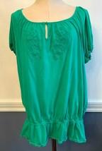 22/24 Lane Bryant Fun & Flirty Women's Plus Size Green Boho Shirt Modal - $17.77