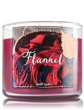 BATH & BODYWORKS Flannel 14.5 OuncesThree Wick Candle - $26.58