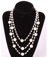 "Faux Pearl Necklace-16""-Jewelry-Ring Clasp-Chain & Bead- - $26.17"