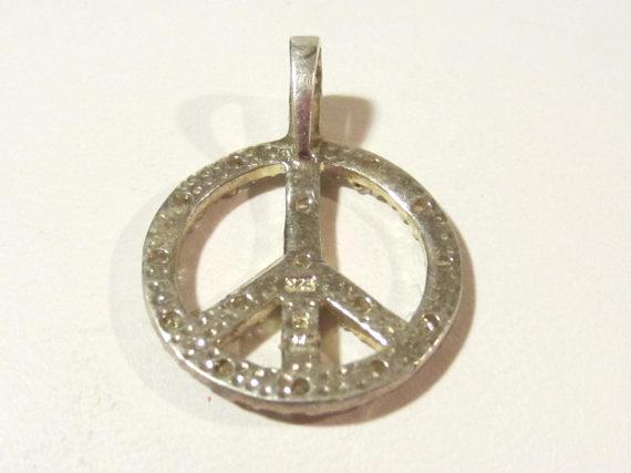 Sterling silver 925 cz Peace sign pendant