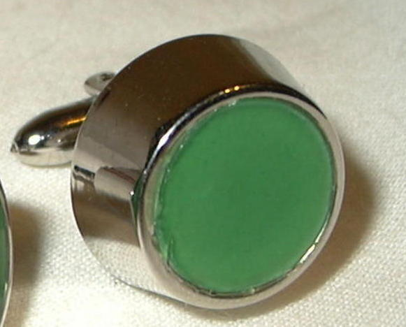 jc12 Vintage Green Celluloid round Drum Shape Cufflinks cuff links