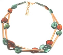 ROSE NECKLACE TWO WIRES AMBER GREEN ROUNDED DROPS OF MURANO GLASS TUBE ALTERNATE image 1