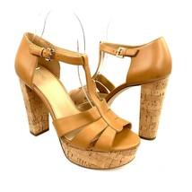 MICHAEL Michael Kors Leather T Strap Platform Sandal Cork Heels Size 8.5... - $64.34
