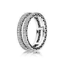 Authentic Pandora #196236CZ-54 Double Hearts of Pandora Ring w/Clear CZ Size 7 - $84.15