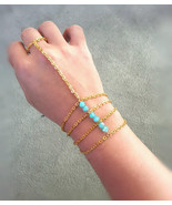Caged Slave Bracelet Gold Hand Chain Aqua Glass Beads Bohemian Slave Bra... - $54.00