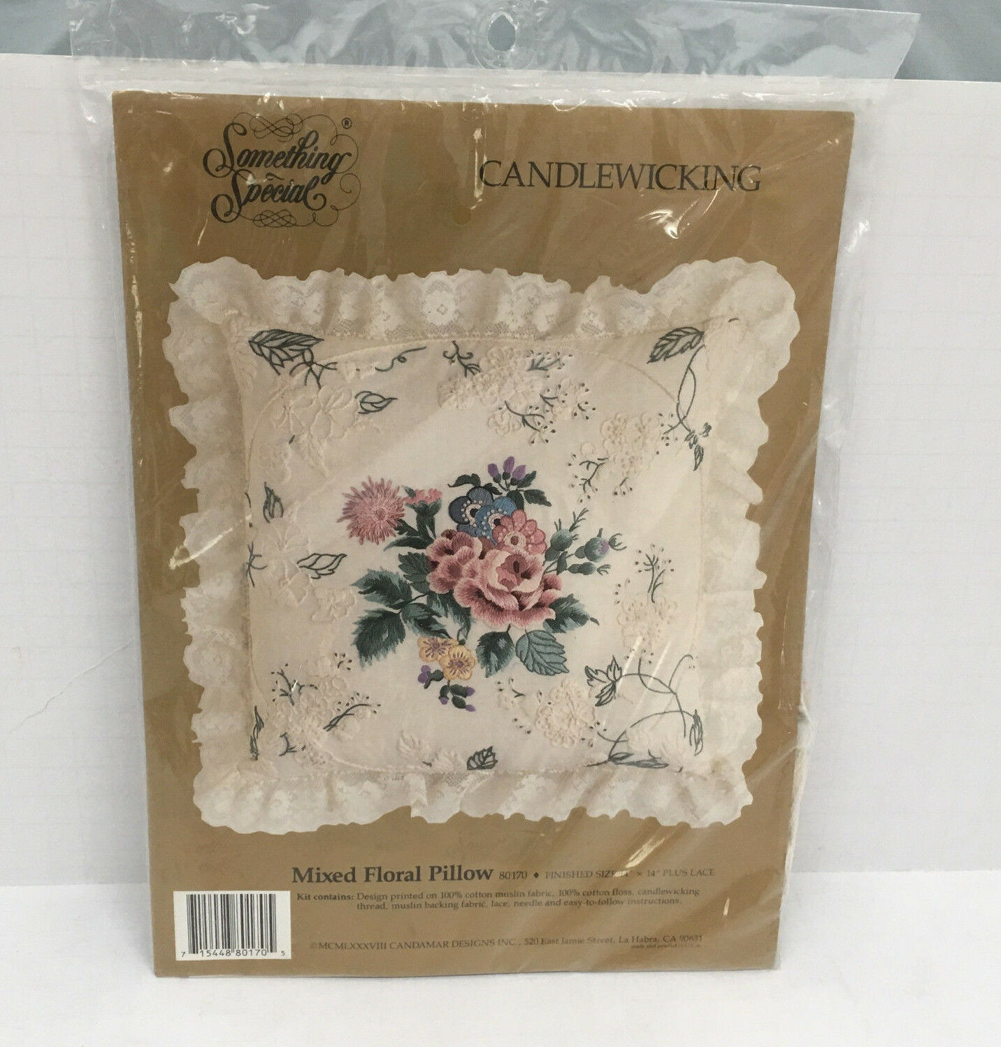 vintage candlewicking kit mixed floral pillow something special brand never used - $29.65