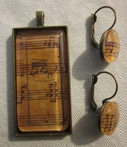 MUSIC SHEET MODERNIST PENDANT and EARRINGS in CONVEX GLASS Hand Crafted ... - $23.74