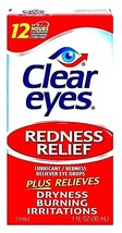 CLEAR EYES REDNESS RELIEF LUBRICANT RELIEVING EYE DROPS 1 OZ EXP 02/2020 - $11.29
