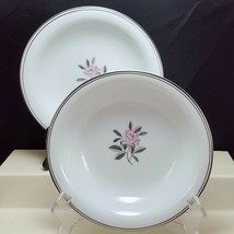 Noritake Rosales 5790 Coupe Soup Bowls Set of 2 White Pink Rose Platinum... - $17.82