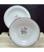 Noritake Rosales 5790 Coupe Soup Bowls Set of 2 White Pink Rose Platinum... - $17.82