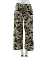 GILI Jetsetter Petite Side Slit Pants Pockets Black Palm PL NEW A307129 - $34.63