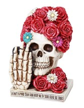 Floral Red Rose Selfie Skull Eternal Beauty Collectible Figurine 6 inch - $24.74