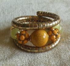 Vintage Metal Beaded Wrap-A-Round Bracelet Glass Beads of Yellow/Orange - $46.52