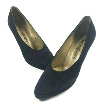 Yves Saint Laurent 7.5 M Black Suede Round Platform Pumps Comma Block Heels - $60.78