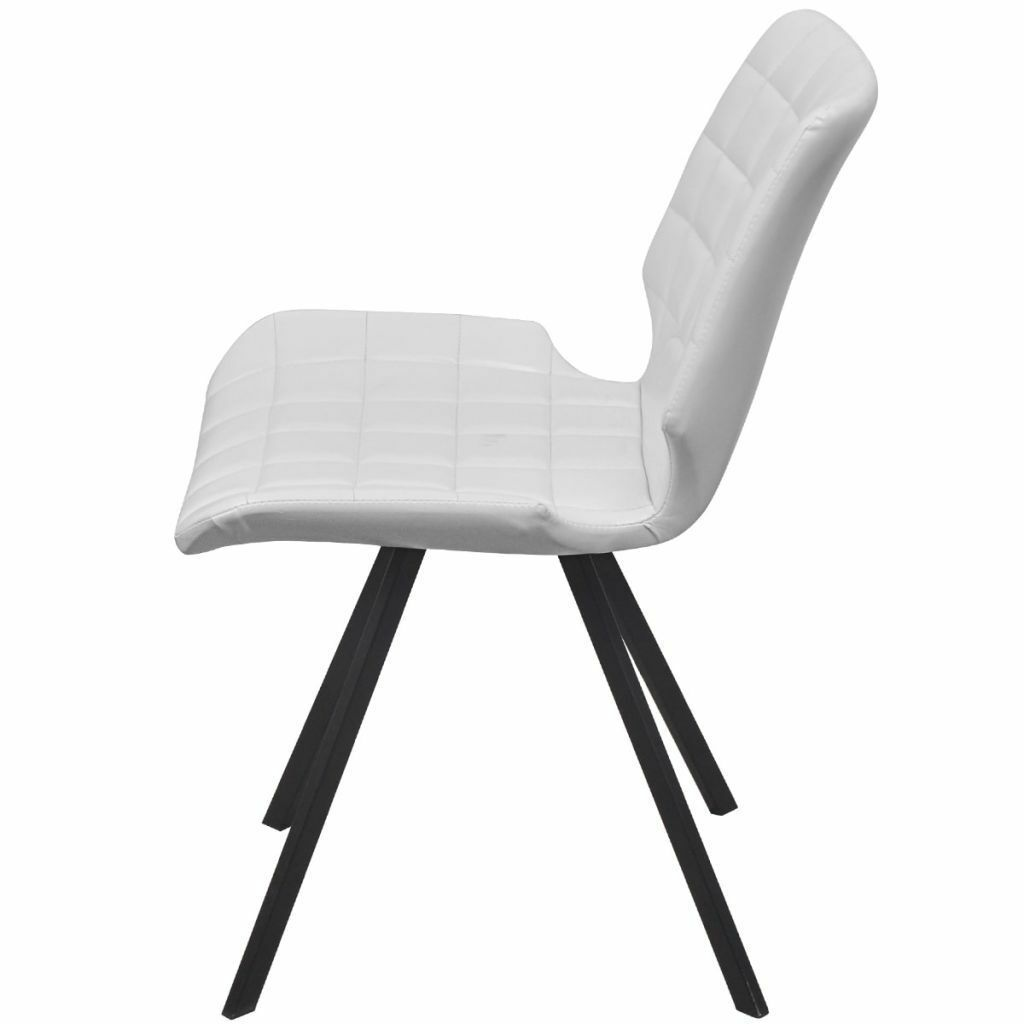 vidaXL Set of 4 Dining Office Living Room Kitchen Chair Artificial Leather White image 4