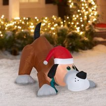 Airblown Inflatable Playful Puppy Dog wIth Santa Hat by Gemmy image 3