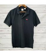 Levi's Mens Short Sleeve Polo Shirt Black Housemark Logo Size S New - $29.65
