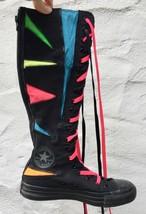 Knee High CONVERSE Zip Up Black Neon Geometric Sz 5 Girls Sky Hi - $75.24