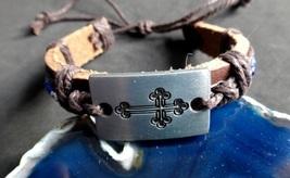 Energy Balancing Healing 7 Chakra Cross Leather Bracelet Reiki Heal Alig... - $10.00