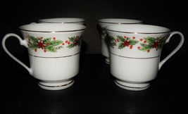 4 Lynns Fine China Hollyberry Tea Cup Christmas Gold Trim Green Red Whit... - $34.64