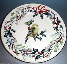 "Lenox Winter Greetings Goldfinch Accent Luncheon Plate 9.25"" New - $49.90"