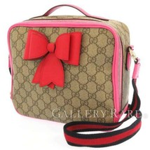 GUCCI Shoulder Bag GG Supreme Leather Beige Pink 2Way Kids Bow 462500  Authentic