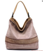 New Vegan Leather Handbag Republic Large Hobo Handbag Shoulder Bag Blush... - $64.30