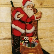 Vtg Needlepoint Wool Christmas Stocking Padded Santa 3D Toys Doll Velvet... - $37.74