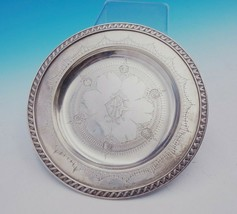 Gorham Sterling Silver Card Tray Zigzag Ribbon Border BC w/ Shell Design (#3539) - $530.10