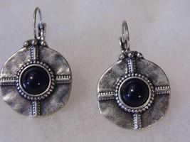 Nice Pierced Earrings Silver Tone Black Stone Costume Fashion Jewelry - $10.66