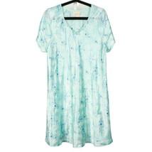 Inner Most Satin Nightgown L Womens Blue Floral VNeck VTG Sears Short Sl... - $20.65
