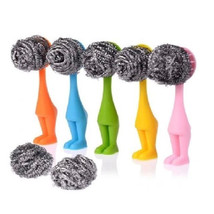 Cute Colorful Laborious Girl Kitchen Dish Pan Cleaning Brush Comfortable... - $7.67+