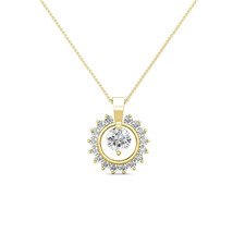 14K Yellow Gold 1.40Ct Created Diamond Round Halo Charm Pendant - $154.42