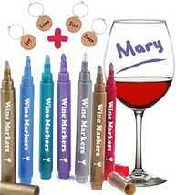 Wine Glass Markers, Pack of 7 By Vaci + 4 Wine Glass Charms, Metallic Co... - $11.78