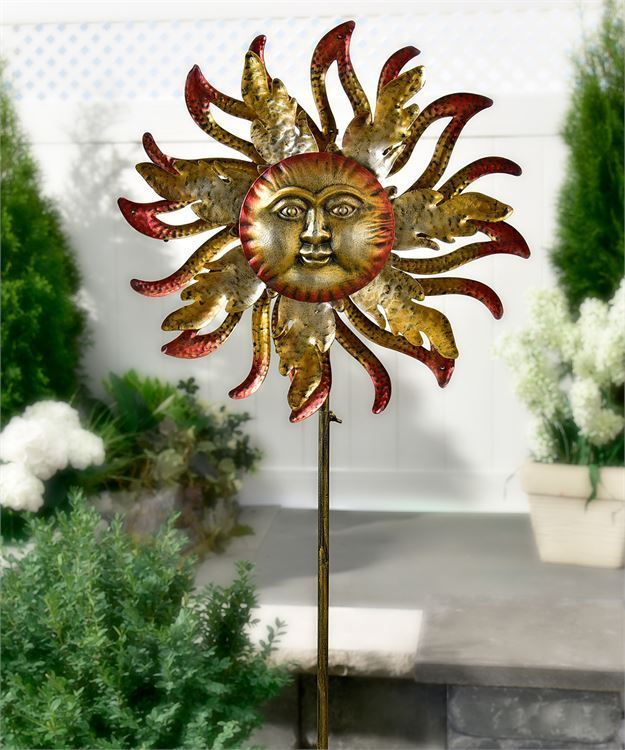 "63"" Iron Celestial Golden Sun Design Solar Lighted Wind Spinner Garden Stake"