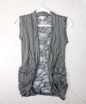 Charcoal Lace Back Vest, Charcoal Open Front Vest, Lightweight Rayon Layering