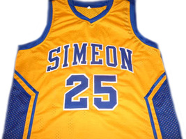 Derrick Rose #25 Simeon High School Men Basketball Jersey Yellow Any Size image 1