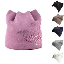 Meow Ear Flaps womens Ladies Diamond Pearls Butterfly Knitted Beanie Hat... - ₨1,725.94 INR
