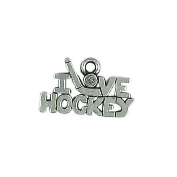 I LOVE HOCKEY FINE PEWTER CHARM PENDANT- 20mm  x 12mm x 2mm