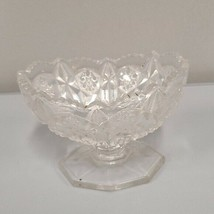 """Cut Clear crystal pedestal trinket serving dish vase 5"""" wide Candy Jewelry dish  - $19.95"""