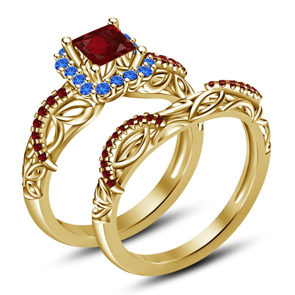 Aurora Disney Princess Bridal Ring Set 14k Yellow GP 925 ... |Disney Princess Wedding Set