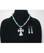 New Turquoise Howlite Cross Pendant Necklace with Earrings - $25.00