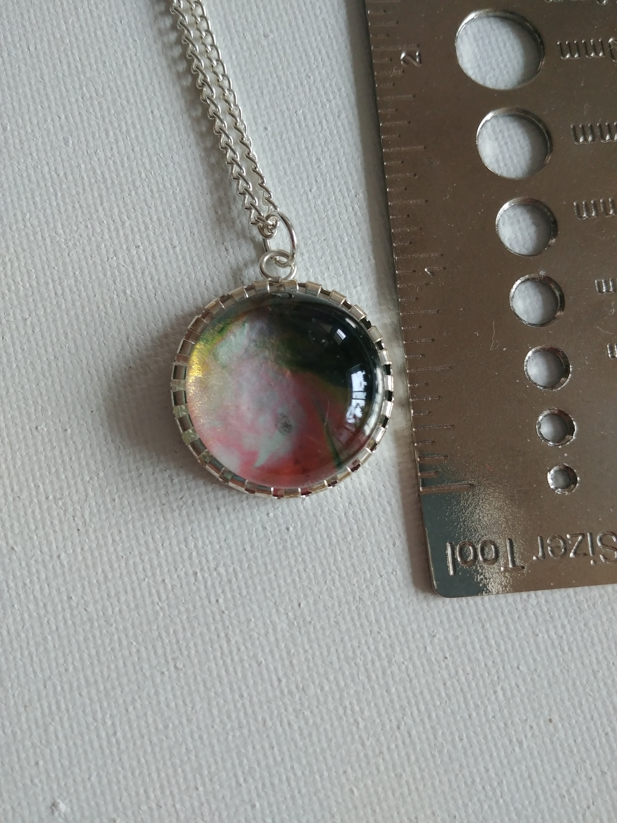 Handpainted Green and Pink Pendant