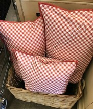 Pottery Barn Gingham Lumbar Pillow Cover Coral White 16x26 Buffalo Check - $31.17