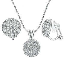 Yoursfs Bridesmaid Jewelry Set Round Sparkly Cluster Rhinestone Disc Bal... - $17.82
