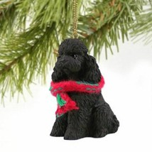 POODLE (BLACK SPORT CUT) DOG CHRISTMAS ORNAMENT HOLIDAY XMAS Figurine Scarf - $9.50
