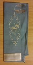 ArtMart Deeropak Linen Guest Towel - Vintage 1960's Embroidered Blue Whi... - $19.79