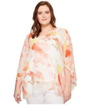 Calvin Klein Women's Plus Floral-Print Angel-Sleeve Pullover Blouse Shir... - $72.97